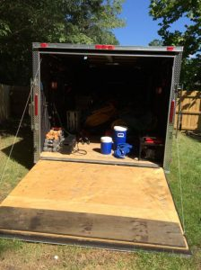 Everything neatly packed up in trailer
